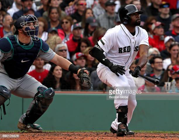 Boston Red Sox center fielder Jackie Bradley Jr contributed to today's 60 win over the Seattle Mariners with his bat and his glove Here he watches...