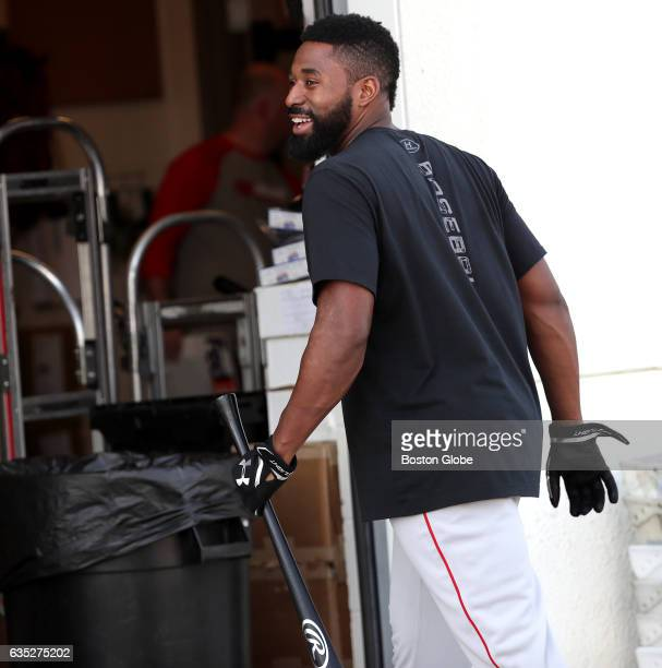 Boston Red Sox center fielder Jackie Bradley Jr heads to the clubhouse after hitting in the batting cages Pitchers and catchers report for spring...
