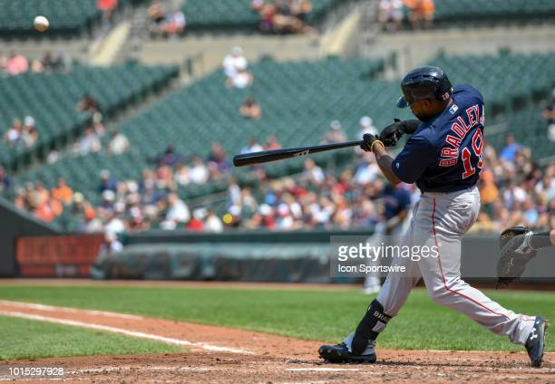 Boston Red Sox center fielder Jackie Bradley Jr hits a fifth inning solo home run during the game between the Boston Red Sox and the Baltimore...