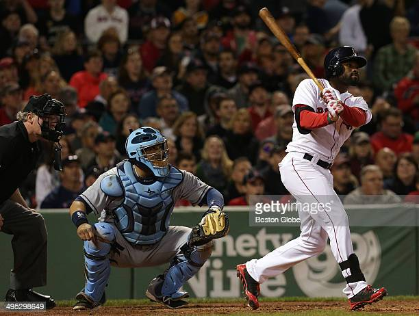 Boston Red Sox center fielder Jackie Bradley Jr hits a two run home run in the fifth inning The Boston Red Sox host the Tampa Bay Rays in Game two of...