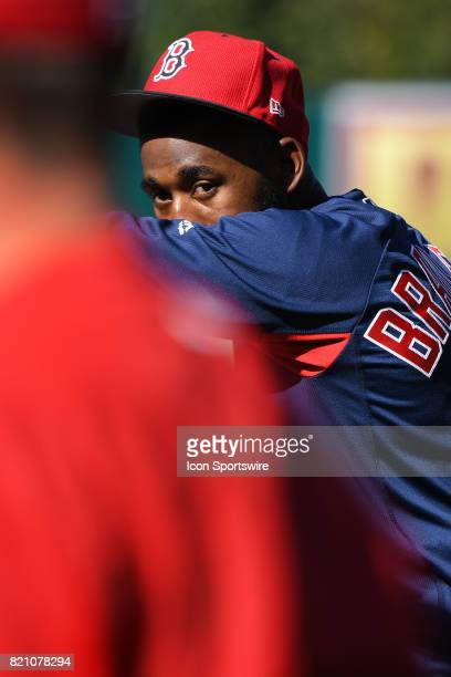 Boston Red Sox center fielder Jackie Bradley Jr. Looks on during batting practice before an MLB game between the Boston Red Sox and the Los Angeles...