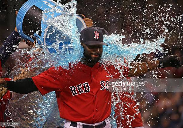 Boston Red Sox center fielder Jackie Bradley Jr received a sports drink shower after the 74 win over the New York Yankees The Boston Red Sox take on...