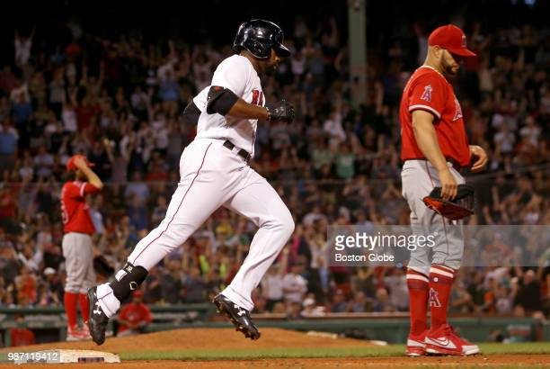 Boston Red Sox center fielder Jackie Bradley Jr rounds first base after his tworun home run in the seventh inning The Boston Red Sox host the Los...