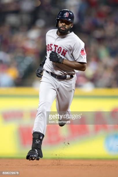 Boston Red Sox center fielder Jackie Bradley Jr rounds the bases after hitting a home run during the fourth inning of the Major League Baseball game...