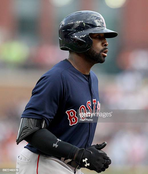 Boston Red Sox center fielder Jackie Bradley Jr rounds the bases after his tworun homerun in the first inning of a baseball game in Detroit Michigan...