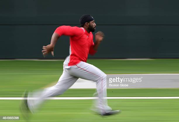Boston Red Sox center fielder Jackie Bradley Jr runs conditioning sprints at the end of the day
