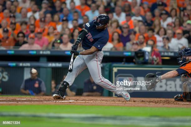 Boston Red Sox center fielder Jackie Bradley Jr singles in the second inning during game two of American Division League Series between the Houston...