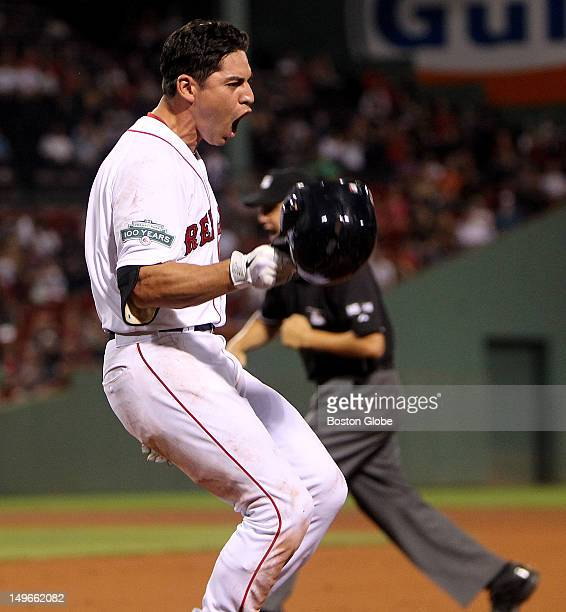 Boston Red Sox center fielder Jacoby Ellsbury reacts after being called out on a close play at first base for the second out in the ninth inning as...