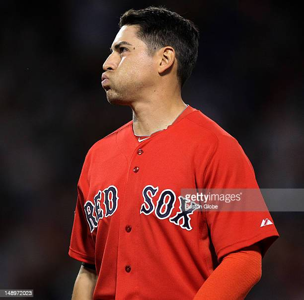 Boston Red Sox center fielder Jacoby Ellsbury shows his frustration after fouling out to third in the seventh inning as the Boston Red Sox took on...