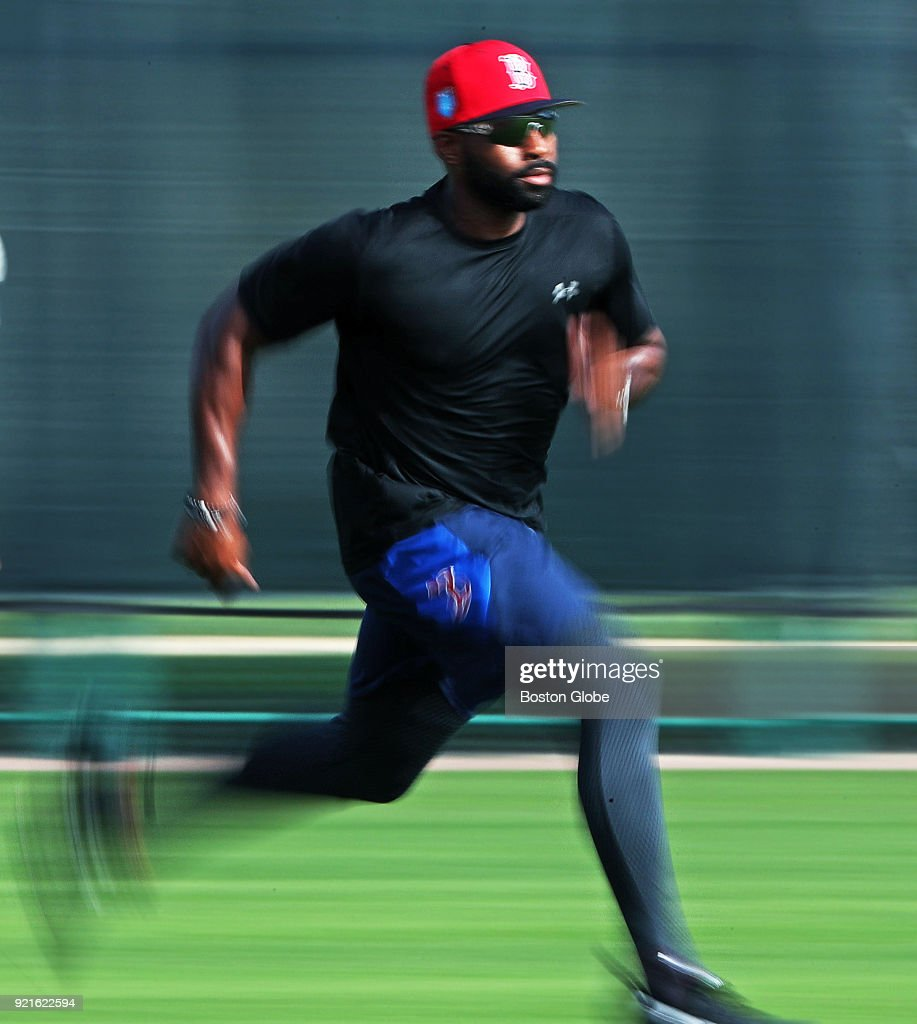 Boston Red Sox centerfielder Jackie Bradley, Jr. does some sprints during spring training at the Player Development Complex at Jet Blue Park in Fort Myers, FL on Feb. 13, 2018.
