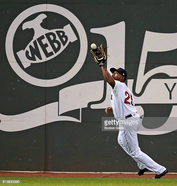 Boston Red Sox centerfielder Jackie Bradley Jr makes the catch on a second inning The Boston Red Sox host the Cleveland Indians in Game Three of the...