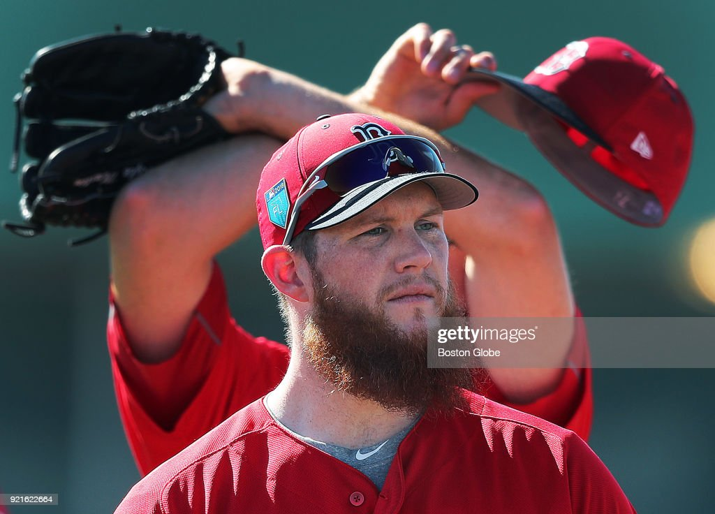 Boston Red Sox closer Craig Kimbrel is pictured on the field with teammates during a morning spring training drill at the Player Development Complex at Jet Blue Park in Fort Myers, FL on Feb. 17, 2018.