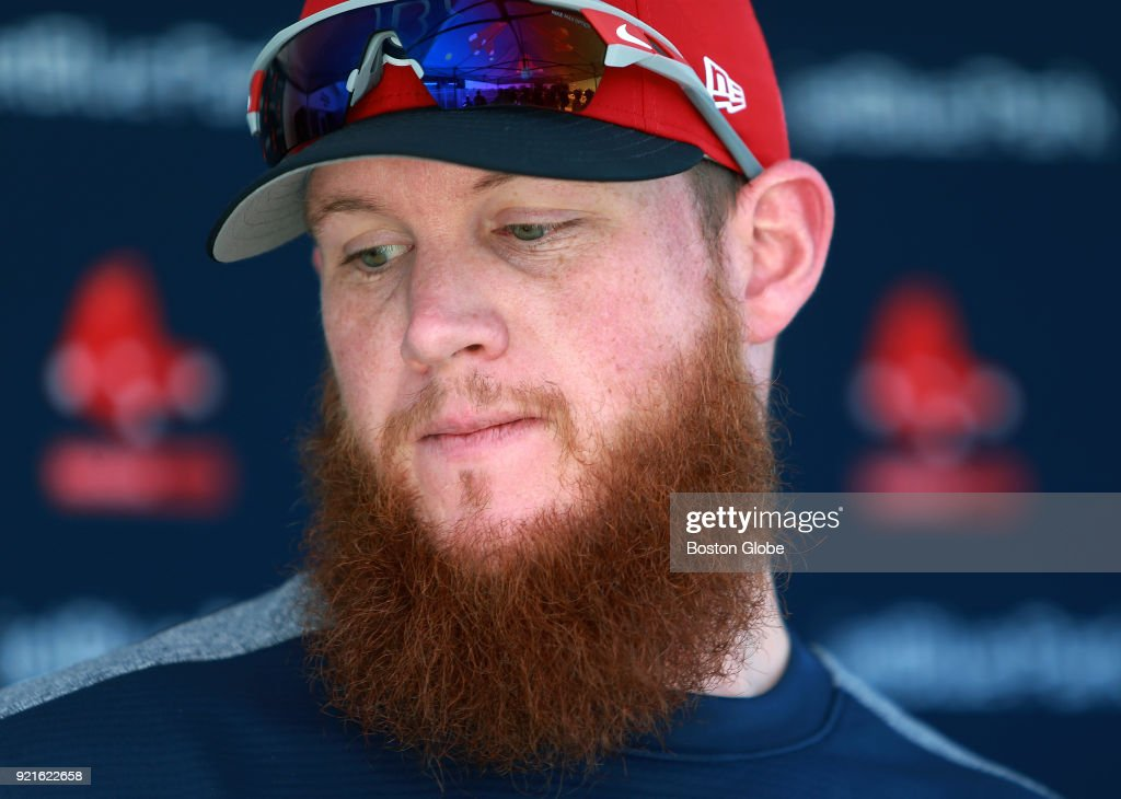 Boston Red Sox closer Craig Kimbrel speaks to reporters after a spring training practice at the Player Development Complex at Jet Blue Park in Fort Myers, FL on Feb. 17, 2018. Among the subjects he touched on was his baby daughter who will soon under go a second heart operation.