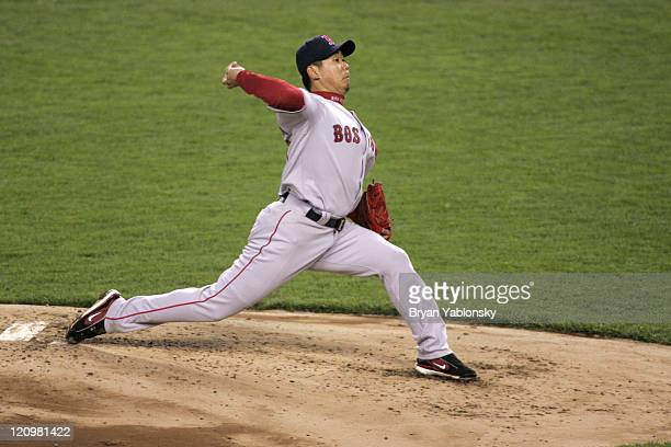 Boston Red Sox Daisuke Matsuzaka pitching in a regular season game against the New York Yankees played at Yankee Stadium in Bronx NY Red Sox defeated...