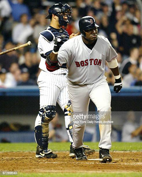 Boston Red Sox' David Ortiz take off after hitting a tworun home run in the fourth inning bringing in runner Manny Ramirez The Red Sox beat the New...