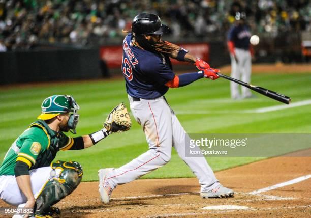 Boston Red Sox designated hitter Hanley Ramirez foul tips a ball during the regular season baseball game between the Oakland Athletics and the Boston...