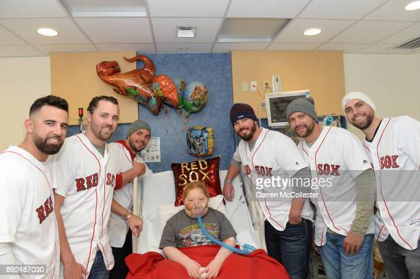 Boston Red Sox Devin Marrero Heath Hembree Robby Scott Austin Maddox Brian Johnson and Matt Barnes visit Jack at Boston Children's Hospital December...