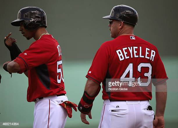 Boston Red Sox First Base Coach Arnie Beyeler is pictured during Red Sox spring training at JetBlue Park