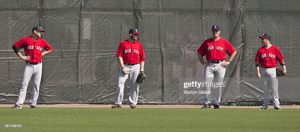 Will Middlebrooks, Jonny Gomes, John Farrell and Dustin Pedroia. Day two of spring training at the Red Sox training facilities at JetBlue Park on Wednesday, Feb. 13, 2013.