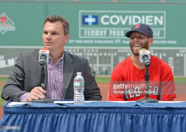Boston Red Sox General Manager Ben Cherington announces a an eight year contract with second baseman Dustin Pedroia during a press conference on July...