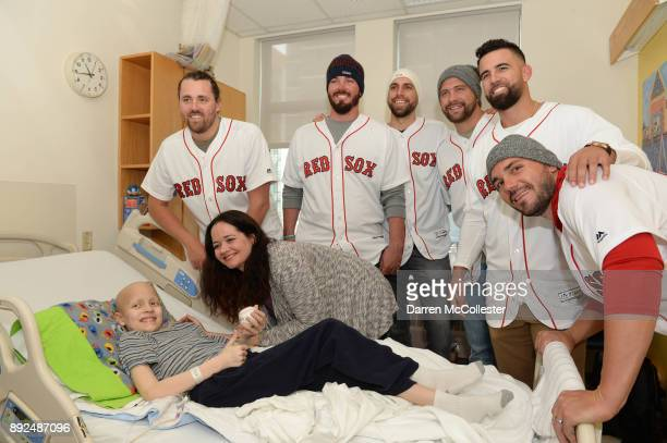 Boston Red Sox Heath Hembree Austin Maddox Matt Barnes Brian Johnson Devin Marrero and Robby Scott visit Logan at Boston Children's Hospital December...