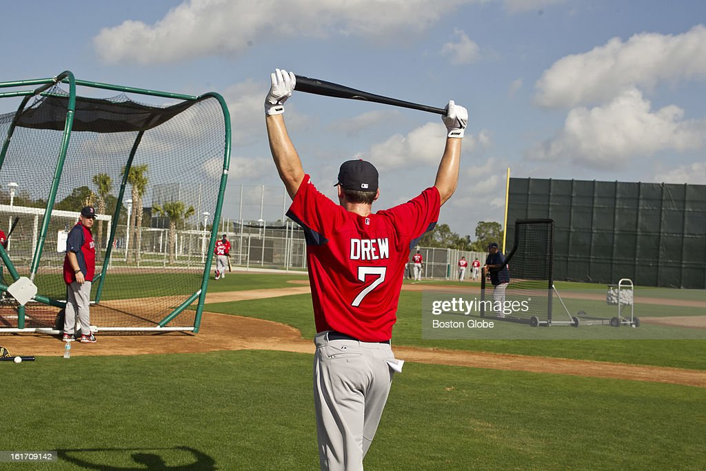 Boston Red Sox infielder Stephen Drew walks to the batting cage. Day two of spring training at the Red Sox training facilities at JetBlue Park on Wednesday, Feb. 13, 2013.