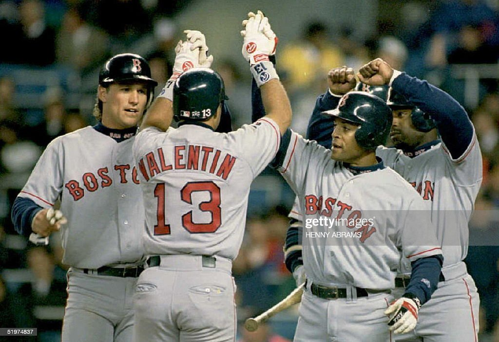 Boston Red Sox John Valentin Is Met At Home Plate By Teammates Tim Naehring  (L