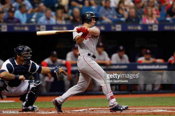 Boston Red Sox left fielder Andrew Benintendi at bat during the MLB game between the Boston Red Sox and Tampa Bay Rays on March 29 2018 at Tropicana...