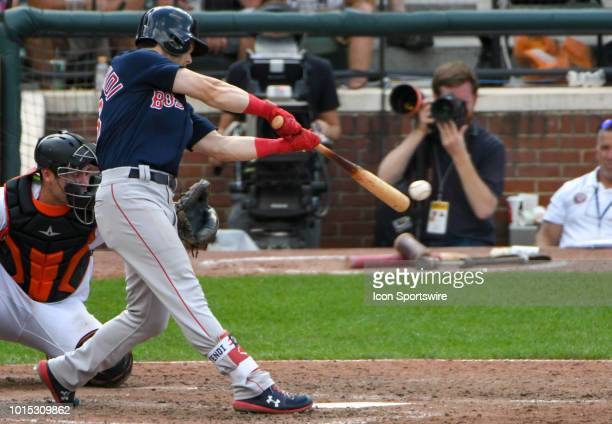 Boston Red Sox left fielder Andrew Benintendi bats in the ninth inning during the game between the Boston Red Sox and the Baltimore Orioles on August...