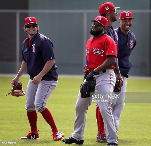 Boston Red Sox left fielder Andrew Benintendi Boston Red Sox center fielder Jackie Bradley Jr Boston Red Sox outfielder Chris Young Boston Red Sox...
