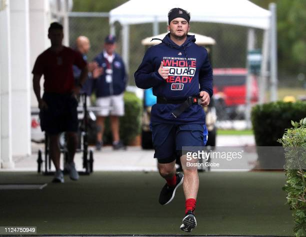 Boston Red Sox left fielder Andrew Benintendi works out with resistance band training at JetBlue Park in Fort Myers FL on Feb 13 2019 The first...