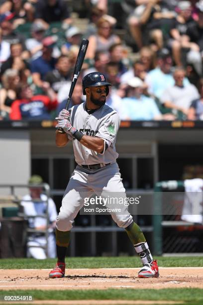 Boston Red Sox left fielder Chris Young at bat during a game between the Chicago White Sox and the Boston Red Sox on May 29 at Guaranteed Rate Field...