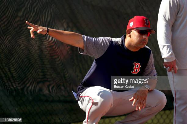 Boston Red Sox manager Alex Cora gestures during a spring training bullpen session at JetBlue Park in Fort Myers FL on Feb 17 2019