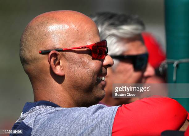 Boston Red Sox manager Alex Cora looks on during a spring training pitchers and catchers workout at JetBlue Park in Fort Myers FL on Feb 16 2019