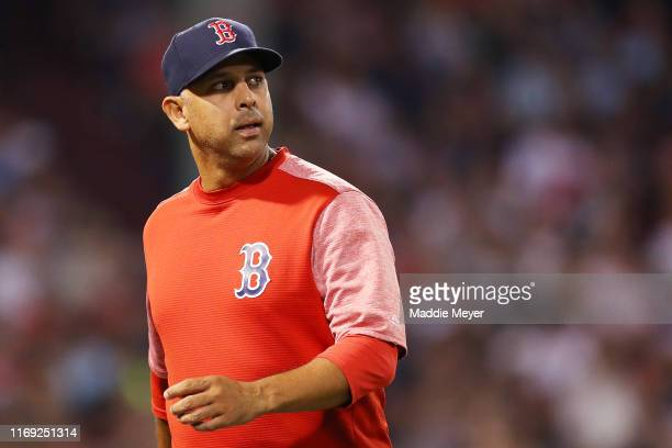 Boston Red Sox Manager Alex Cora returns to the dugout after disputing a call during the fourth inning of the game between the Boston Red Sox and the...