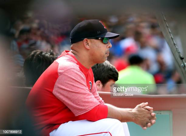 Boston Red Sox manager Alex Cora sits on the bench during the seventh inning The Boston Red Sox host the Minnesota Twins in a regular season MLB...