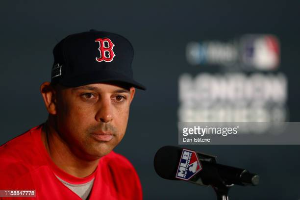 Boston Red Sox manager Alex Cora speaks with members of the media during a press conference ahead of the MLB London Series games between Boston Red...