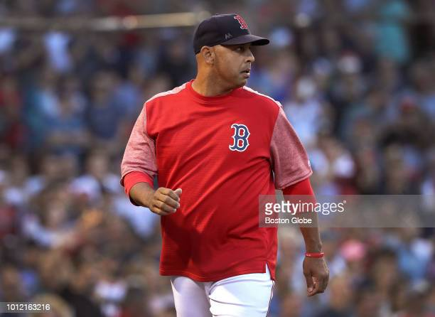 Boston Red Sox manager Alex Cora walks off the field after he was ejected during the first inning The Boston Red Sox host the New York Yankees in a...