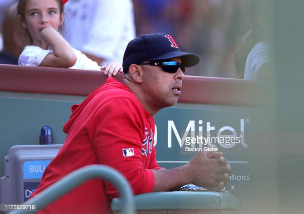 Boston Red Sox manager Alex Cora watches the game with the Sox down 8-3 in the sixth inning. The Boston Red Sox host the Baltimore Orioles in a...