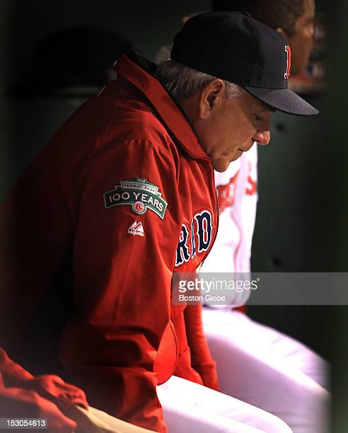 Boston Red Sox manager Bobby Valentine in the dugout during the sixth inning as the Boston Red Sox take on the Tampa Bay Rays at Fenway Park in the...