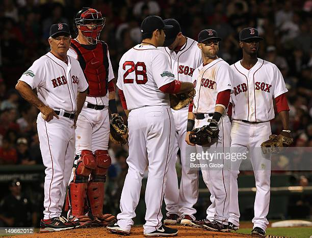 Boston Red Sox manager Bobby Valentine made a pitching change in the fifth inning taking out Boston Red Sox starting pitcher Aaron Cook , not...