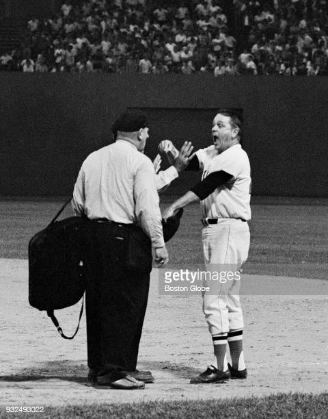 Boston Red Sox manager Dick Williams argues with plate umpire Frank Umont after he was ejected from the game by umpire Frank Valentine in the eighth...
