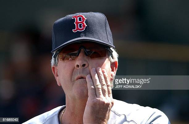Boston Red Sox manager Grady Little holds his head during the ninth inning against the Detroit Tigers at Comerica Park in Detroit 06 June 2002 The...