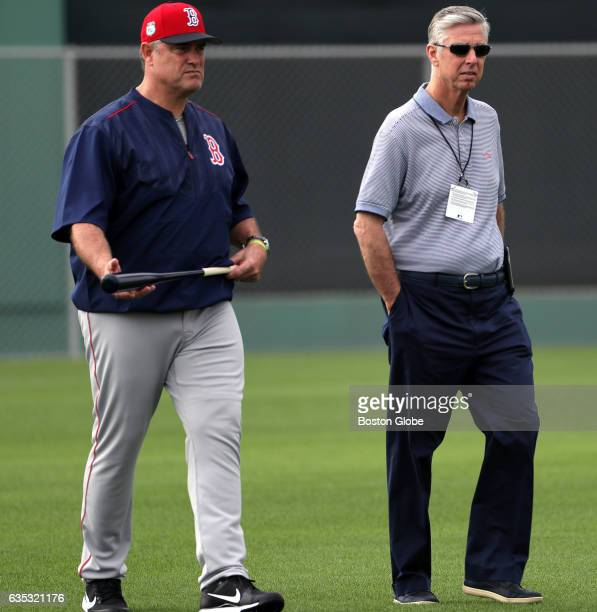 Boston Red Sox manager John Farrell and Boston Red Sox President of Baseball Operations David Dombrowski observe today's workout for pitchers and...