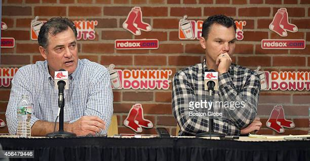 Boston Red Sox Manager John Farrell and General Manager Ben Cherington answer questions about the past season during a press conference on September...