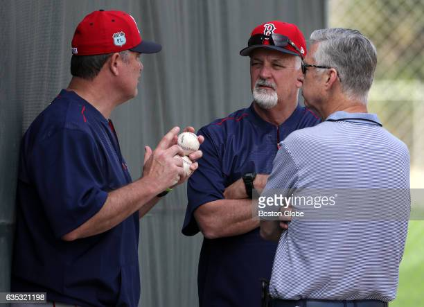 Boston Red Sox manager John Farrell Boston Red Sox pitching coach Carl Willis and Boston Red Sox President of Baseball Operations David Dombrowski...