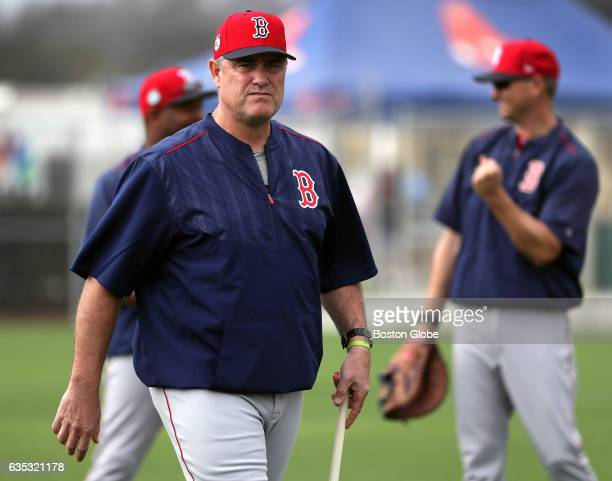 Boston Red Sox manager John Farrell observes today's workout for pitchers and catchers Pitchers and catchers have their first workout during day two...