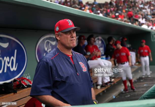 Boston Red Sox manager John Farrell watches from the dugout during the day's game against the Northeastern Huskies on day eleven of Red Sox Spring...