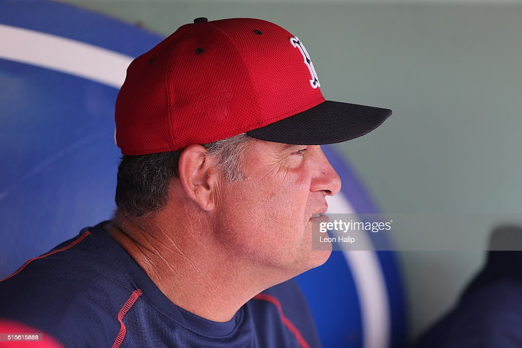 Boston Red Sox manager John Farrell #53 watches the pregame drills prior to the start of the Spring Training Game against the Pittsburgh Pirates on March 14, 2016 during the Spring Training Game at Jet Blue Park at Fenway South, Fort Myers, Florida. The Pirates defeated the Red Sox 3-1.