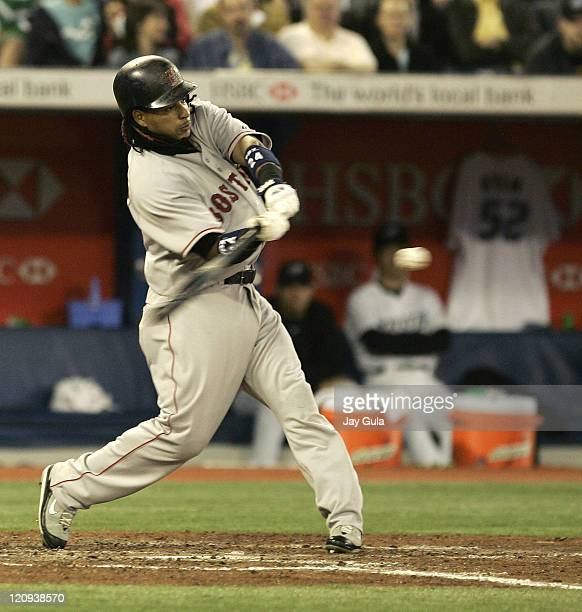 Boston Red Sox Manny Ramirez swings at a pitch in MLB action vs the Toronto Blue Jays at the Rogers Centre in Toronto Canada on May 10 2007 BJRyan's...